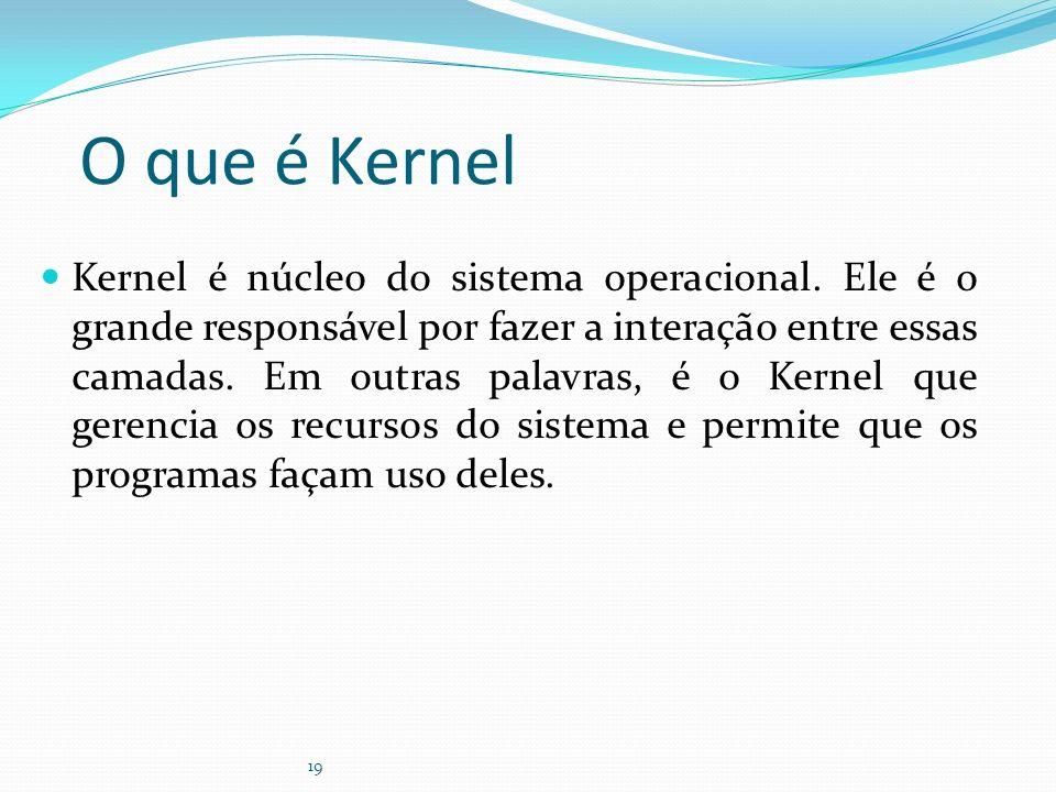 19 O que é Kernel Kernel é núcleo do sistema operacional. Ele é o grande responsável por fazer a interação entre essas camadas. Em outras palavras, é