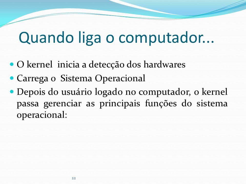 22 Quando liga o computador... O kernel inicia a detecção dos hardwares Carrega o Sistema Operacional Depois do usuário logado no computador, o kernel