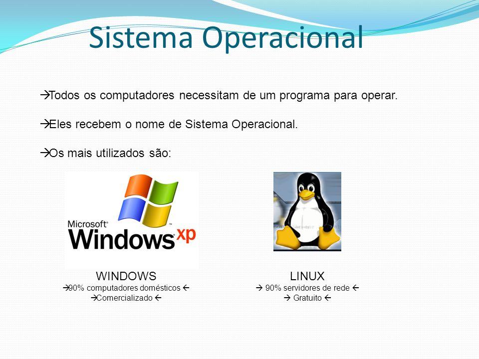 Sistema Operacional Todos os computadores necessitam de um programa para operar. Eles recebem o nome de Sistema Operacional. Os mais utilizados são: W