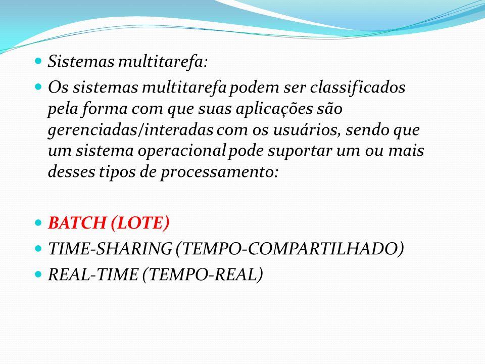 Sistemas multitarefa: Os sistemas multitarefa podem ser classificados pela forma com que suas aplicações são gerenciadas/interadas com os usuários, se