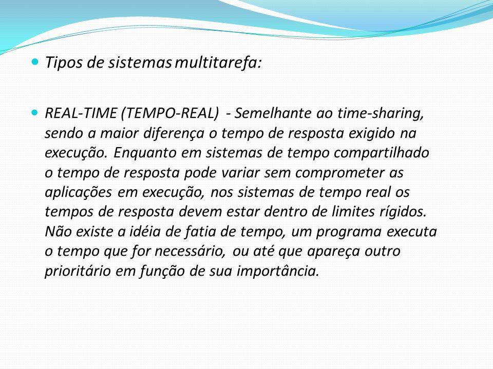 Tipos de sistemas multitarefa: REAL-TIME (TEMPO-REAL) - Semelhante ao time-sharing, sendo a maior diferença o tempo de resposta exigido na execução. E