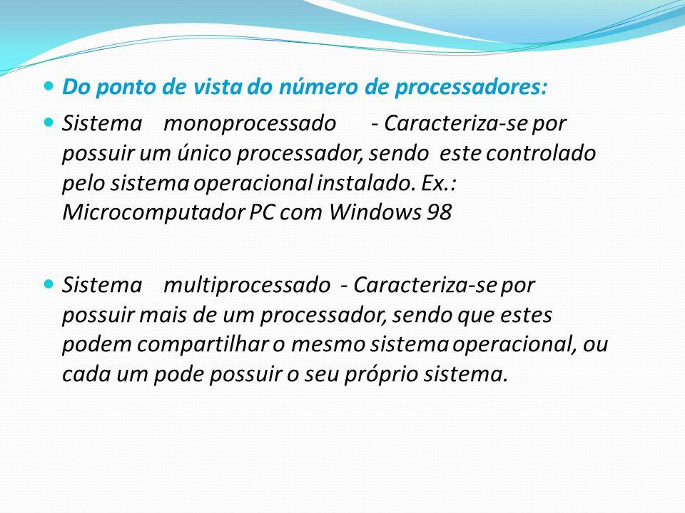 Do ponto de vista do número de processadores: Sistemamonoprocessado - Caracteriza-se por possuir um único processador, sendo este controlado pelo sist