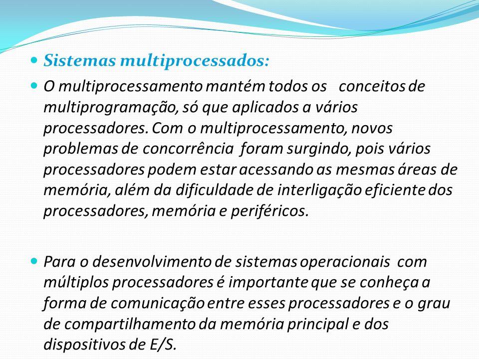 Sistemas multiprocessados: O multiprocessamento mantém todos os conceitos de multiprogramação, só que aplicados a vários processadores. Com o multipro