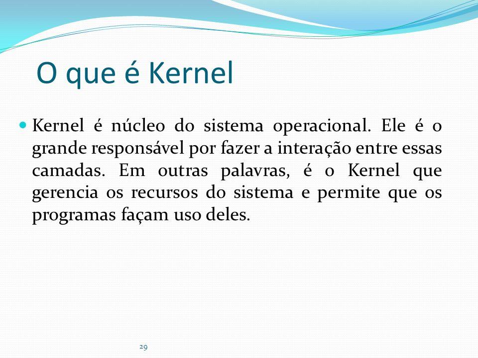 29 O que é Kernel Kernel é núcleo do sistema operacional. Ele é o grande responsável por fazer a interação entre essas camadas. Em outras palavras, é