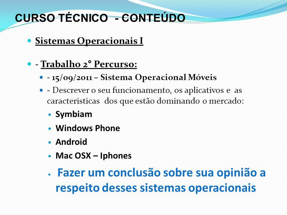 CURSO TÉCNICO - CONTEÚDO Sistemas Operacionais I - Trabalho 2° Percurso: - 15/09/2011 – Sistema Operacional Móveis - Descrever o seu funcionamento, os