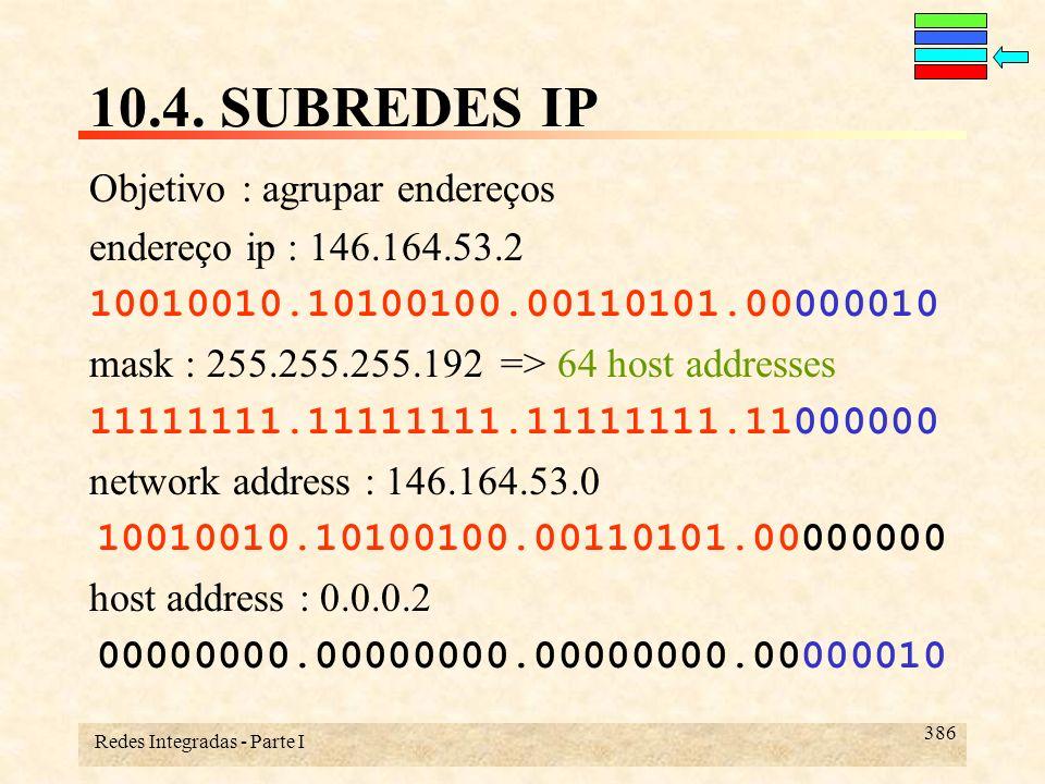 Redes Integradas - Parte I 386 10.4. SUBREDES IP Objetivo : agrupar endereços endereço ip : 146.164.53.2 10010010.10100100.00110101.00000010 mask : 25