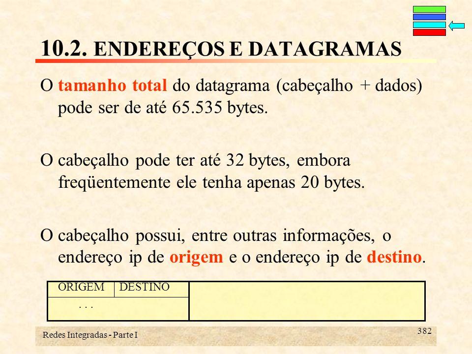 Redes Integradas - Parte I 382 O tamanho total do datagrama (cabeçalho + dados) pode ser de até 65.535 bytes. O cabeçalho pode ter até 32 bytes, embor