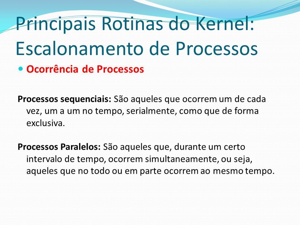 Principais Rotinas do Kernel: Escalonamento de Processos Ocorrência de Processos Processos sequenciais: São aqueles que ocorrem um de cada vez, um a u