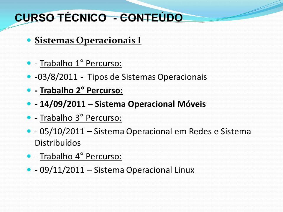 CURSO TÉCNICO - CONTEÚDO Sistemas Operacionais I - Trabalho 2° Percurso: - 15/09/2011 – Sistema Operacional Móveis - Descrever o seu funcionamento, os aplicativos e as caracteristicas dos que estão dominando o mercado: Symbiam Windows Phone Android Mac OSX – Iphones Fazer um conclusão sobre sua opinião a respeito desses sistemas operacionais