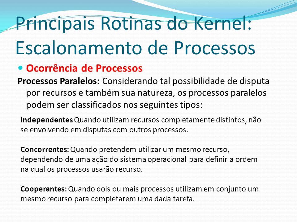 Principais Rotinas do Kernel: Escalonamento de Processos Ocorrência de Processos Processos Paralelos: Considerando tal possibilidade de disputa por re