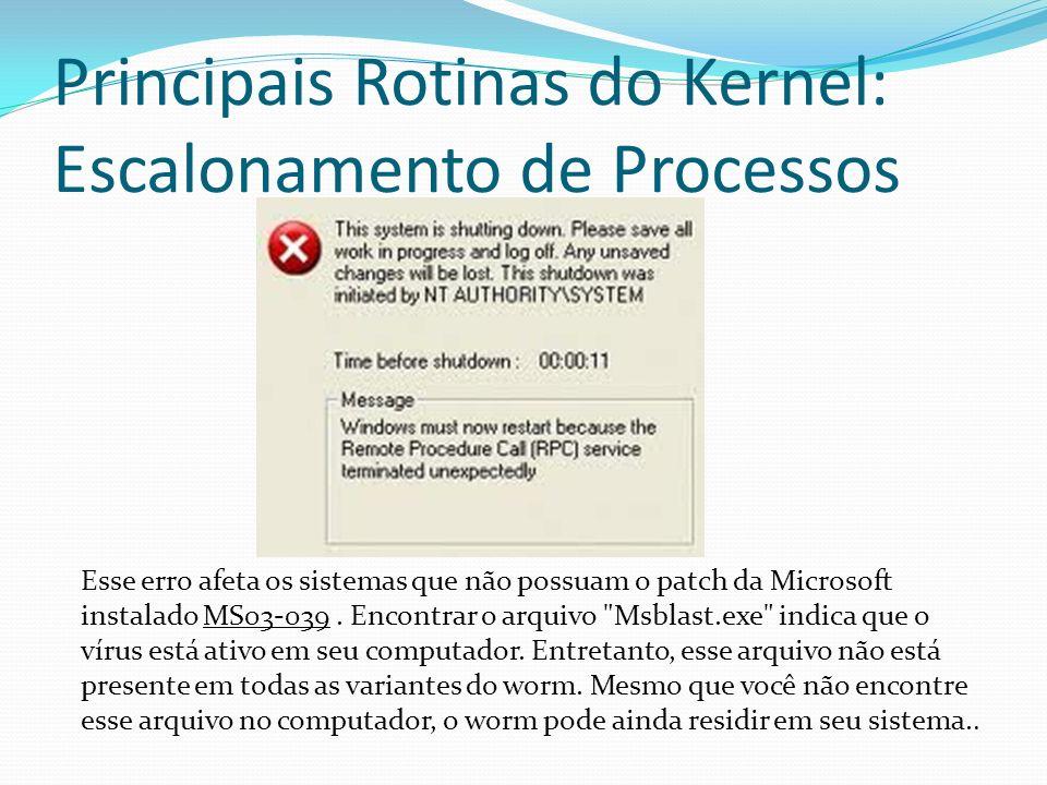 Principais Rotinas do Kernel: Escalonamento de Processos Esse erro afeta os sistemas que não possuam o patch da Microsoft instalado MS03-039. Encontra