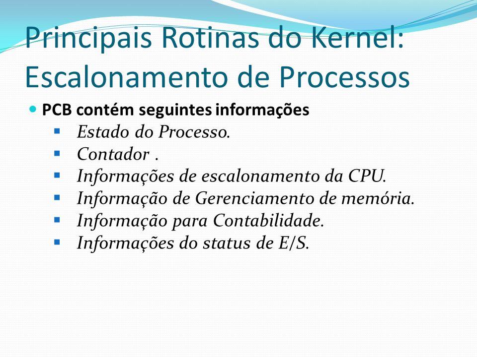 Principais Rotinas do Kernel: Escalonamento de Processos PCB contém seguintes informações Estado do Processo. Contador. Informações de escalonamento d