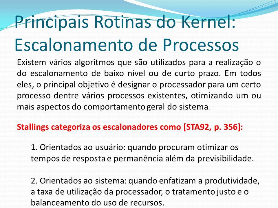 Principais Rotinas do Kernel: Escalonamento de Processos Algoritmo de Escalonamento Preemptivo e não- preemptivo; Não- preemptivo: Quando um processo executa, ele não pode ser interrompido por um fator externo.