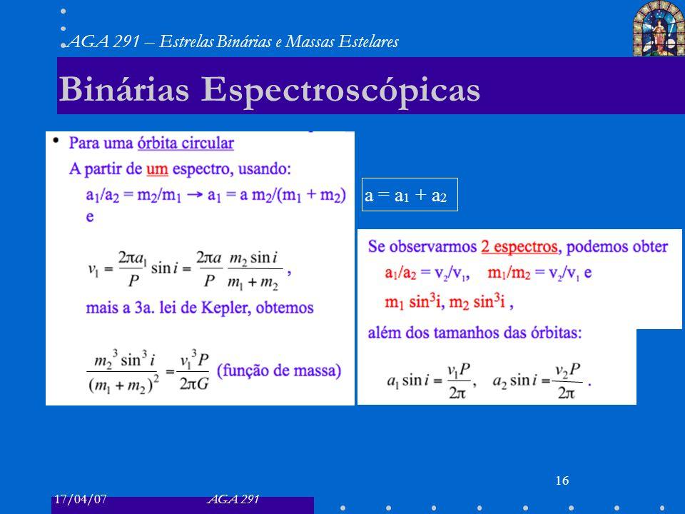 17/04/07AGA 291 AGA 291 – Estrelas Binárias e Massas Estelares 16 Binárias Espectroscópicas a = a 1 + a 2