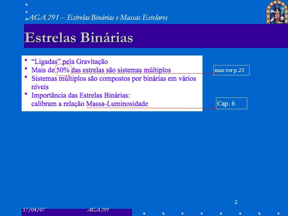 17/04/07AGA 291 AGA 291 – Estrelas Binárias e Massas Estelares 13 Binárias Espectroscópicas 13