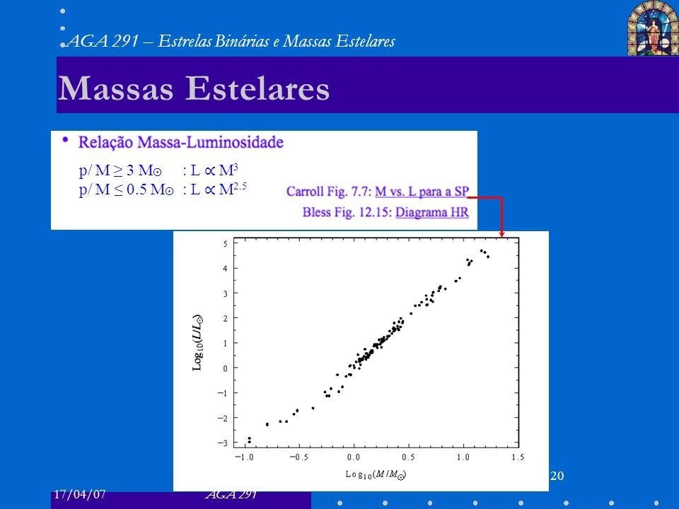 17/04/07AGA 291 AGA 291 – Estrelas Binárias e Massas Estelares 20 Massas Estelares p/ M 3 M : L M 3 p/ M 0.5 M : L M 2.5