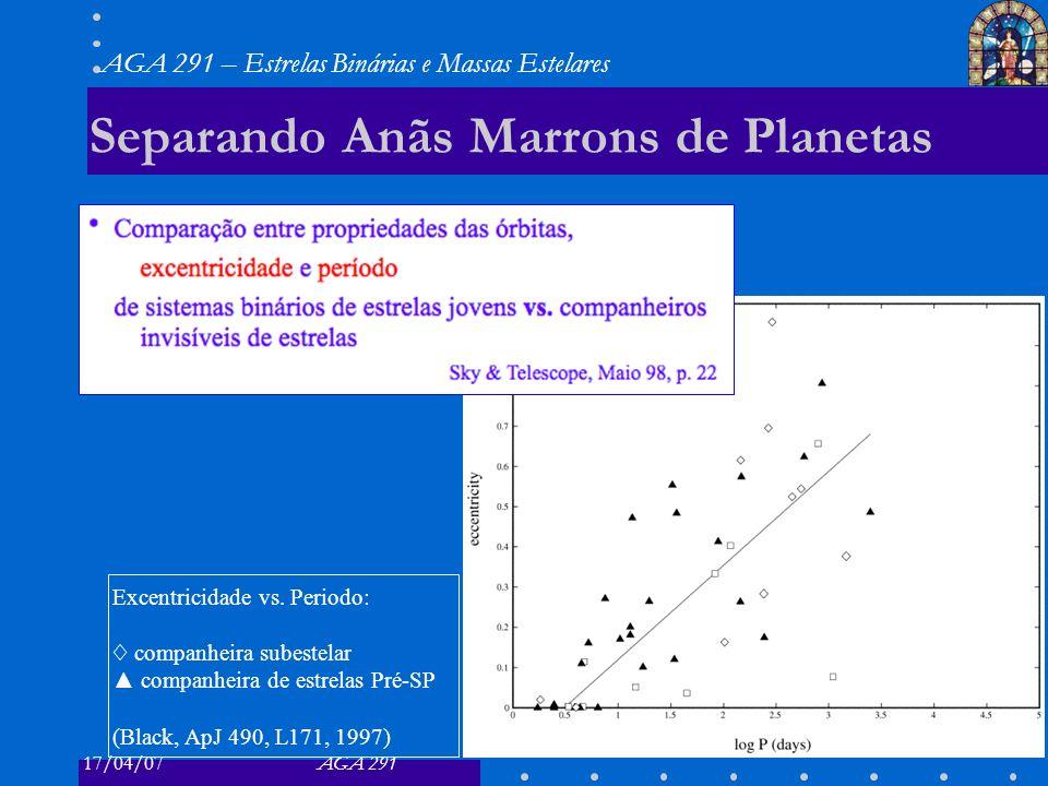 17/04/07AGA 291 AGA 291 – Estrelas Binárias e Massas Estelares 22 Separando Anãs Marrons de Planetas Excentricidade vs. Periodo: companheira subestela