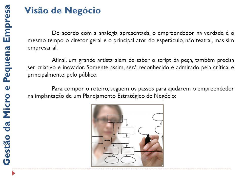 Visão de Negócio Gestão da Micro e Pequena Empresa De acordo com a analogia apresentada, o empreendedor na verdade é o mesmo tempo o diretor geral e o