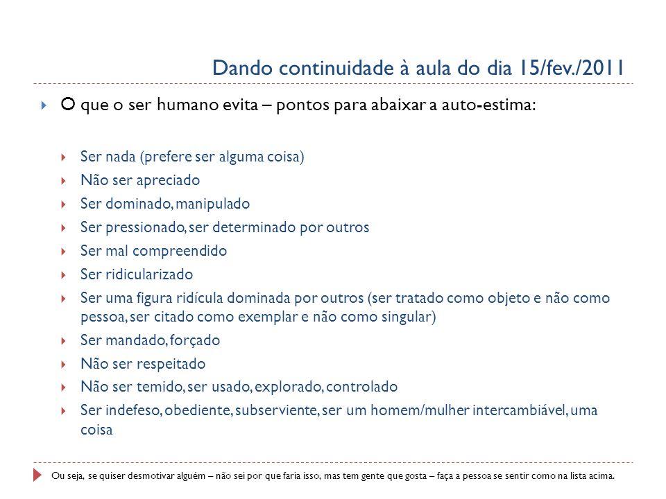 Dando continuidade à aula do dia 15/fev./2011 O que o ser humano evita – pontos para abaixar a auto-estima: Ser nada (prefere ser alguma coisa) Não se