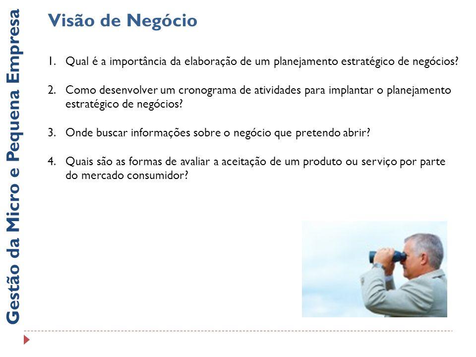 Visão de Negócio Gestão da Micro e Pequena Empresa 4.