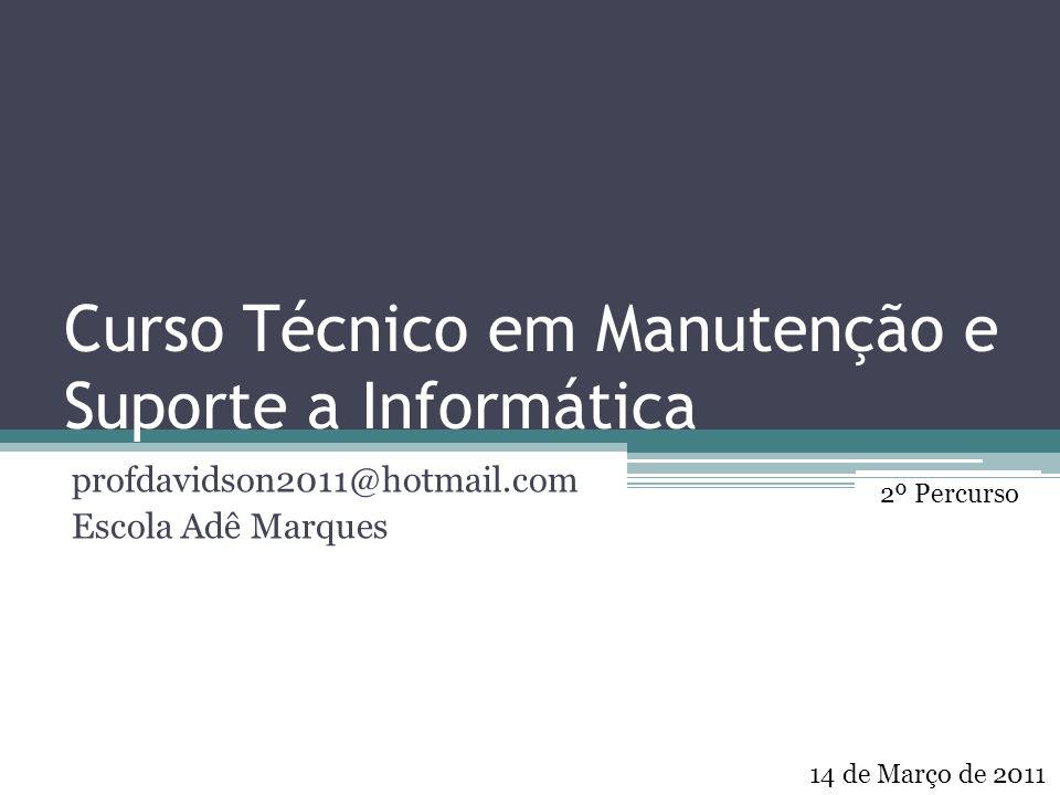 Curso Técnico em Manutenção e Suporte a Informática profdavidson2011@hotmail.com Escola Adê Marques 14 de Março de 2011 2º Percurso