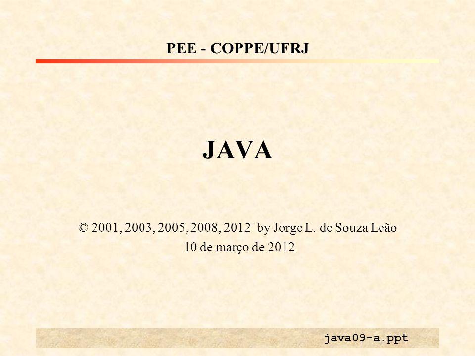 JAVA © 2001, 2003, 2005, 2008, 2012 by Jorge L. de Souza Leão 10 de março de 2012 PEE - COPPE/UFRJ java09-a.ppt