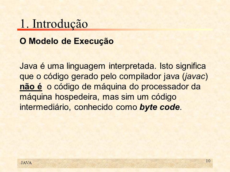 JAVA 10 1. Introdução O Modelo de Execução Java é uma linguagem interpretada. Isto significa que o código gerado pelo compilador java (javac) não é o