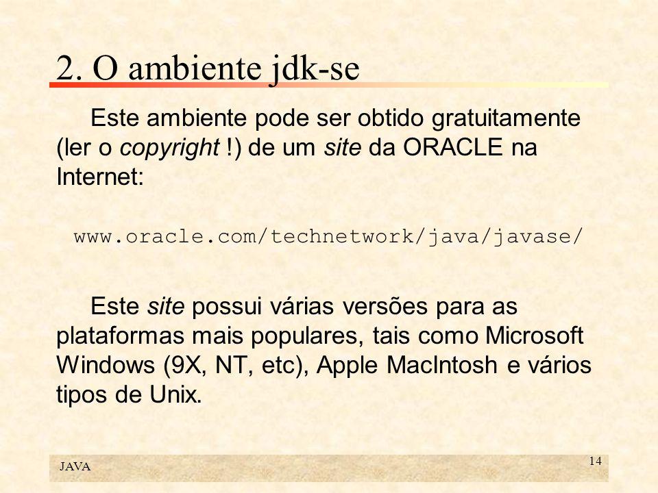 JAVA 14 2. O ambiente jdk-se Este ambiente pode ser obtido gratuitamente (ler o copyright !) de um site da ORACLE na Internet: www.oracle.com/technetw
