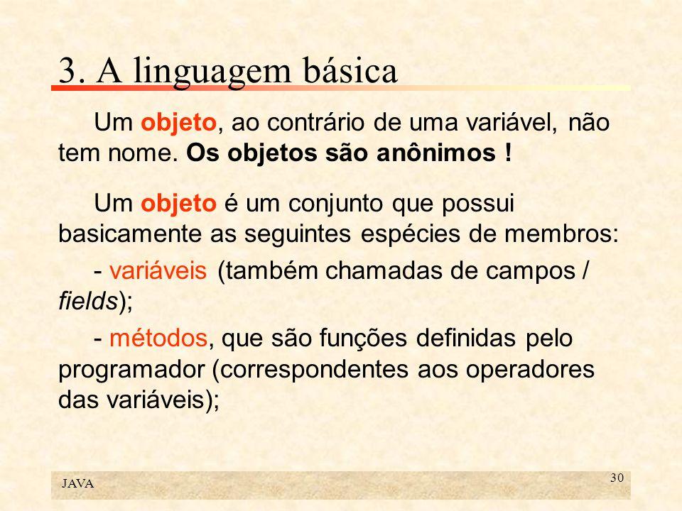 JAVA 30 3. A linguagem básica Um objeto, ao contrário de uma variável, não tem nome. Os objetos são anônimos ! Um objeto é um conjunto que possui basi