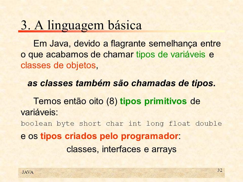 JAVA 32 3. A linguagem básica Em Java, devido a flagrante semelhança entre o que acabamos de chamar tipos de variáveis e classes de objetos, as classe