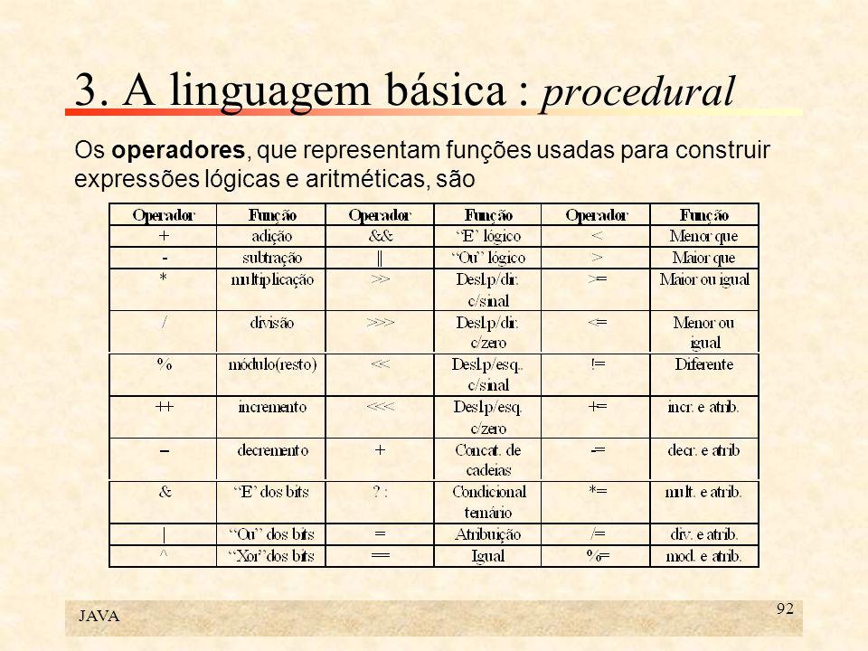 JAVA 92 3. A linguagem básica : procedural Os operadores, que representam funções usadas para construir expressões lógicas e aritméticas, são