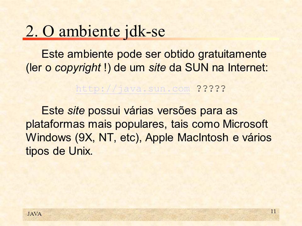 JAVA 12 2.O ambiente jdk-se A instalação do JDK cria uma subárvore no diretório escolhido (...