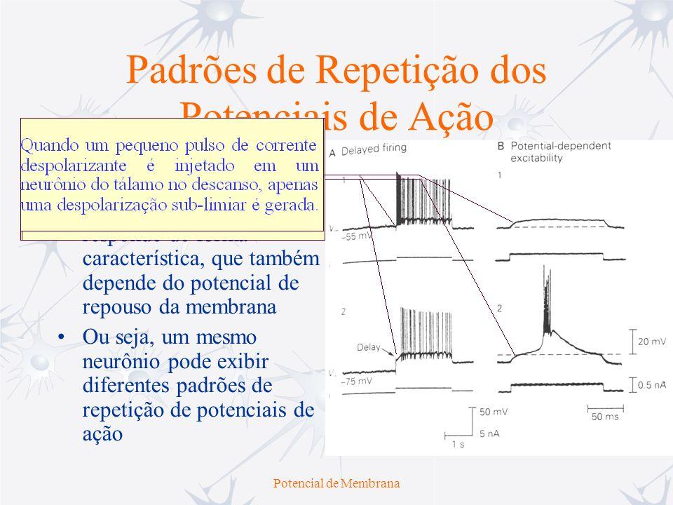 Potencial de Membrana Padrões de Repetição dos Potenciais de Ação Ao se injetar um certo nível de corrente em um determinado neurônio, ele responde de
