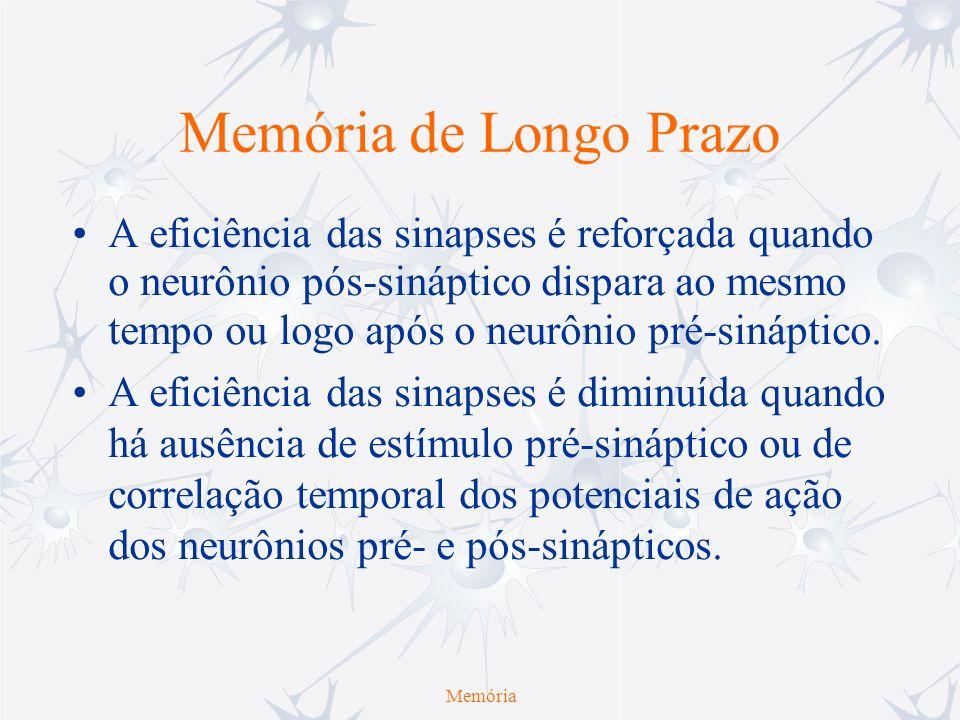 Memória de Longo Prazo A eficiência das sinapses é reforçada quando o neurônio pós-sináptico dispara ao mesmo tempo ou logo após o neurônio pré-sinápt