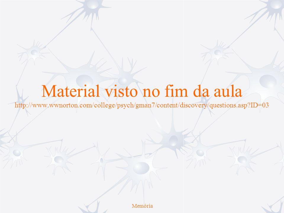Material visto no fim da aula http://www.wwnorton.com/college/psych/gman7/content/discovery/questions.asp?ID=03 Memória