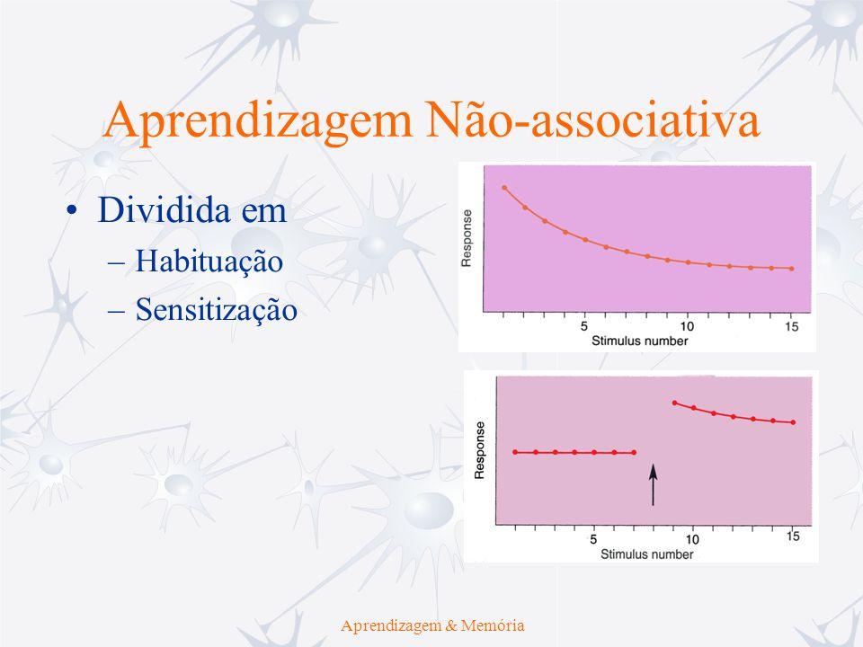 Aprendizagem Não-associativa Aprendizagem & Memória Dividida em –Habituação –Sensitização