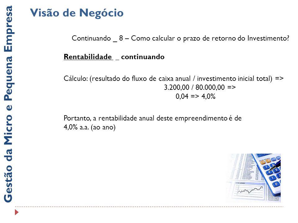 Visão de Negócio Gestão da Micro e Pequena Empresa Continuando _ 8 – Como calcular o prazo de retorno do Investimento.
