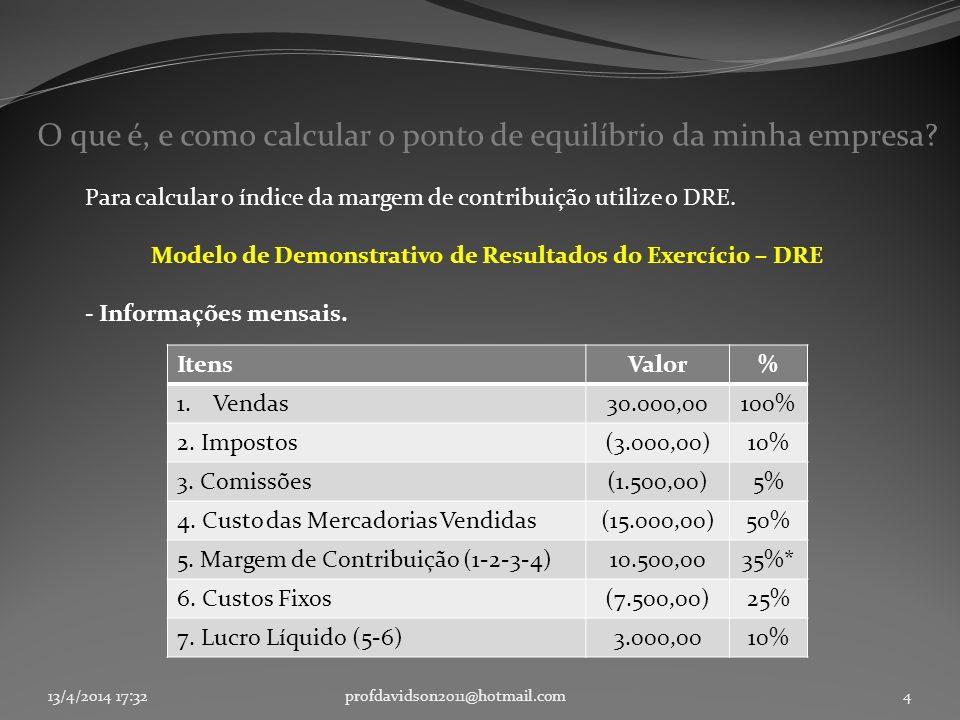 13/4/2014 17:33profdavidson2011@hotmail.com4 O que é, e como calcular o ponto de equilíbrio da minha empresa? Para calcular o índice da margem de cont