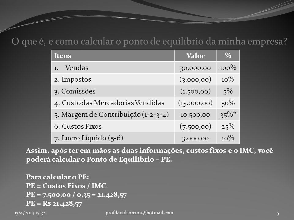 13/4/2014 17:33profdavidson2011@hotmail.com5 O que é, e como calcular o ponto de equilíbrio da minha empresa? Assim, após ter em mãos as duas informaç