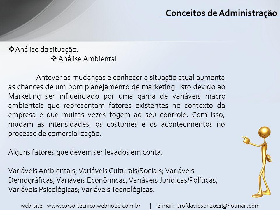 web-site: www.curso-tecnico.webnobe.com.br | e-mail: profdavidson2011@hotmail.com Conceitos de Administração Análise da situação. Análise Ambiental An