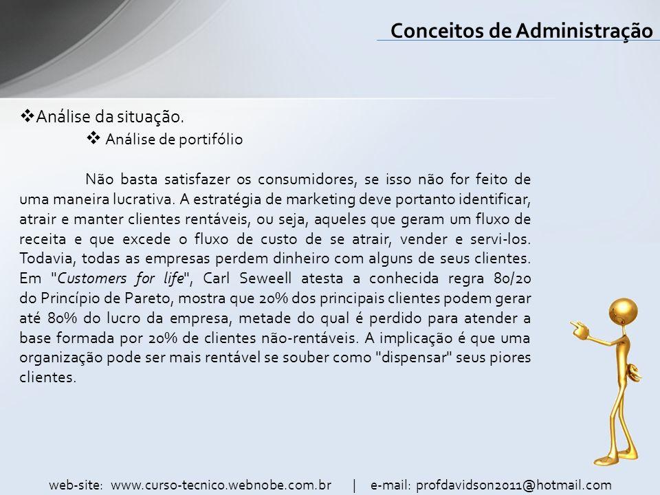 web-site: www.curso-tecnico.webnobe.com.br | e-mail: profdavidson2011@hotmail.com Conceitos de Administração Análise da situação. Análise de portifóli
