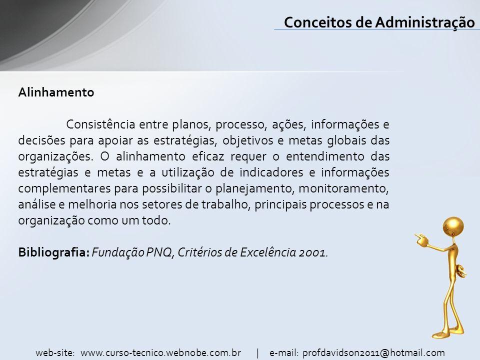 web-site: www.curso-tecnico.webnobe.com.br | e-mail: profdavidson2011@hotmail.com Conceitos de Administração Alinhamento Consistência entre planos, pr