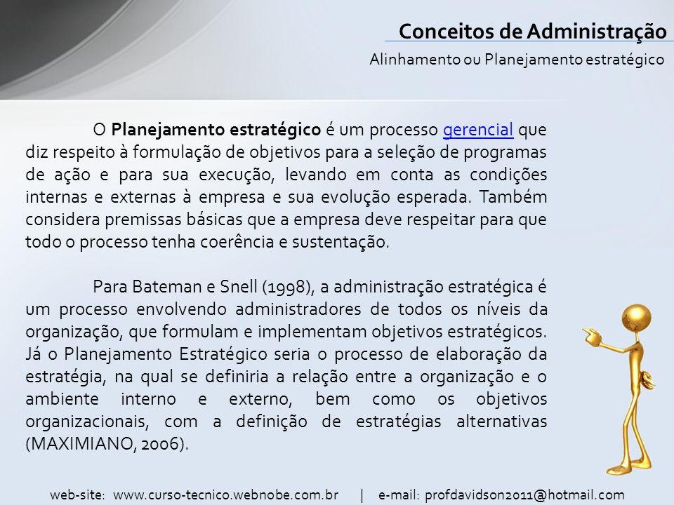 web-site: www.curso-tecnico.webnobe.com.br | e-mail: profdavidson2011@hotmail.com Conceitos de Administração Formulação de estratégias.