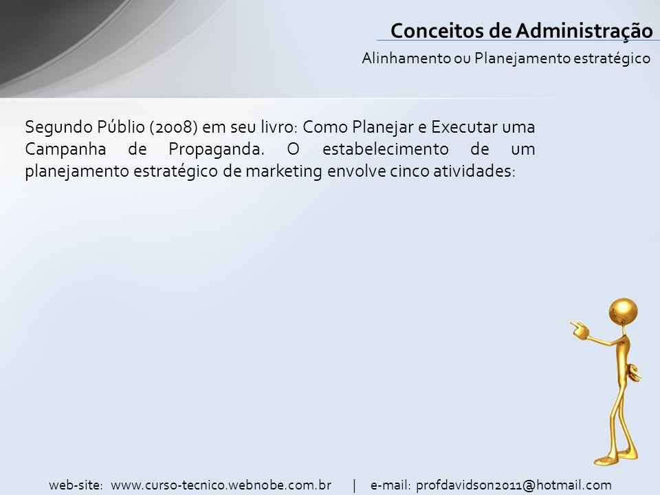 web-site: www.curso-tecnico.webnobe.com.br | e-mail: profdavidson2011@hotmail.com Conceitos de Administração Segundo Públio (2008) em seu livro: Como