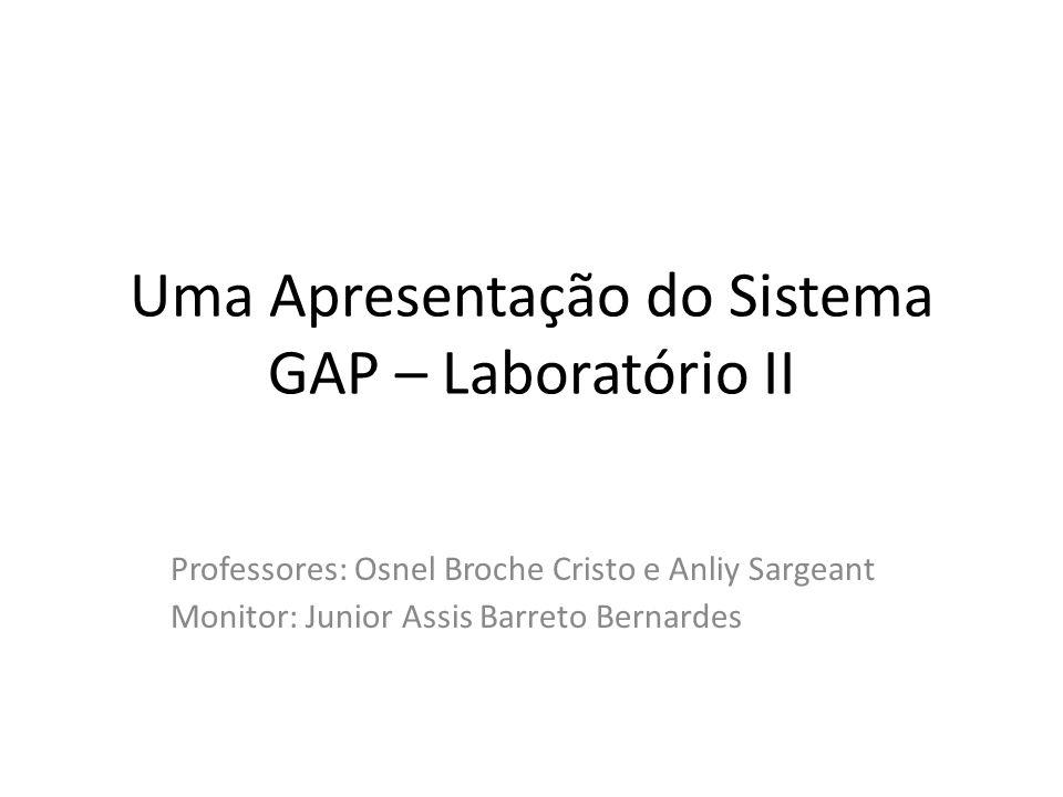 Uma Apresentação do Sistema GAP – Laboratório II Professores: Osnel Broche Cristo e Anliy Sargeant Monitor: Junior Assis Barreto Bernardes
