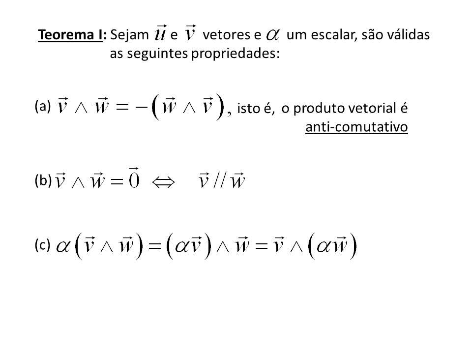 Teorema I: Sejam e vetores e um escalar, são válidas as seguintes propriedades: (a) (b) (c) isto é, o produto vetorial é anti-comutativo
