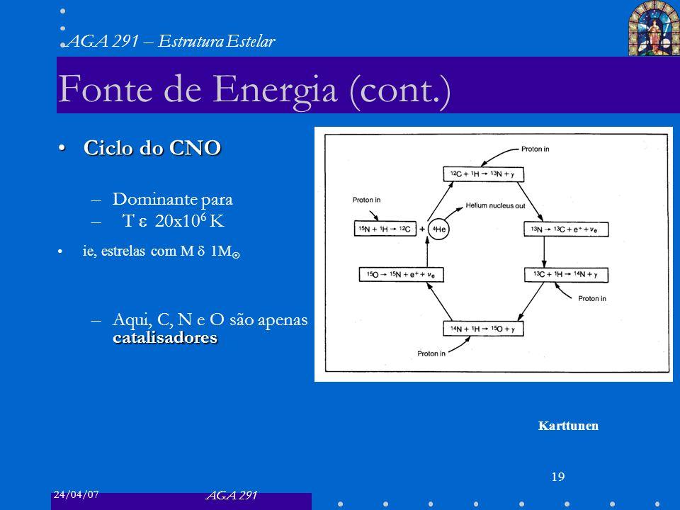 24/04/07 AGA 291 AGA 291 – Estrutura Estelar 19 Fonte de Energia (cont.) Ciclo do CNOCiclo do CNO –Dominante para –T 20x10 6 K ie, estrelas com M 1M catalisadores –Aqui, C, N e O são apenas catalisadores Karttunen