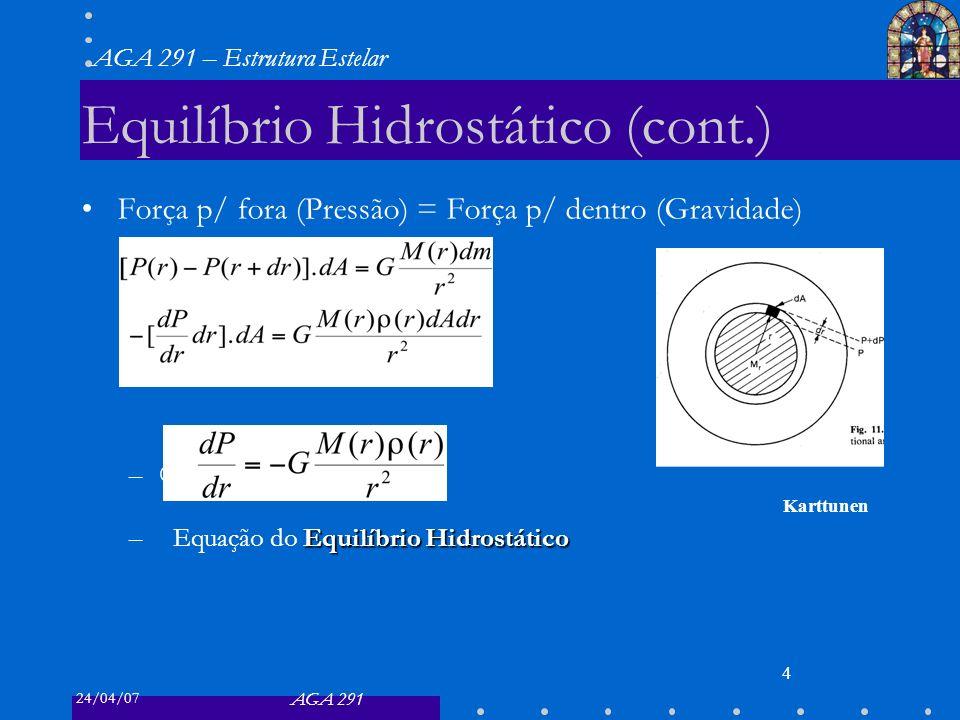 24/04/07 AGA 291 AGA 291 – Estrutura Estelar 4 Equilíbrio Hidrostático (cont.) Força p/ fora (Pressão) = Força p/ dentro (Gravidade) – Equilíbrio Hidrostático –Equação do Equilíbrio Hidrostático Karttunen