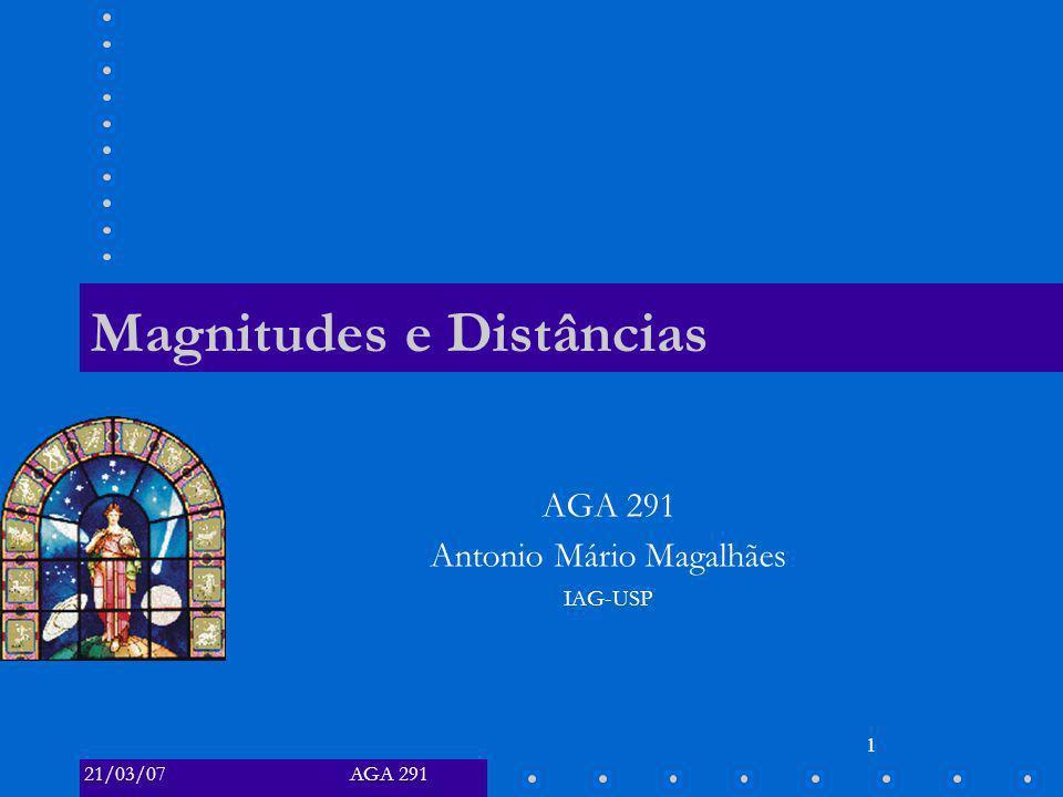 AGA 29121/03/07 1 Magnitudes e Distâncias AGA 291 Antonio Mário Magalhães IAG-USP