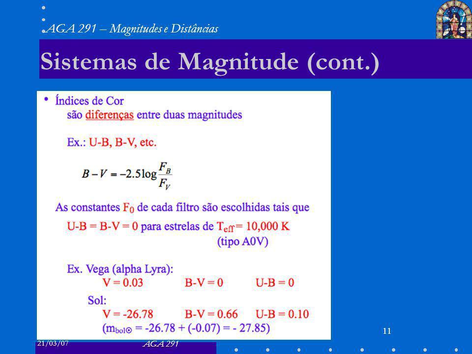 21/03/07 AGA 291 AGA 291 – Magnitudes e Distâncias 11 Sistemas de Magnitude (cont.)